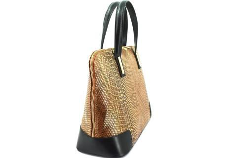Luxusní dámská kožená kabelka Shopper s hadím vzorem - zlatá/černá
