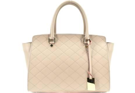 Luxusní dámská  prošívaná kožená kabelka Shopper - růžová/pudrová