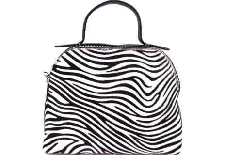 Luxusní dámská kožená kabelka Shopper (zebra)- černá/bílá