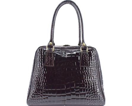 Luxusní dámská lakovaná kožená kabelka Shopper - tmavě hnědá