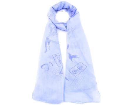 Šátek s potiskem - světle modrá