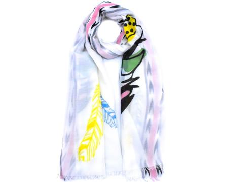 Moderní vzorovaný šátek - bílá