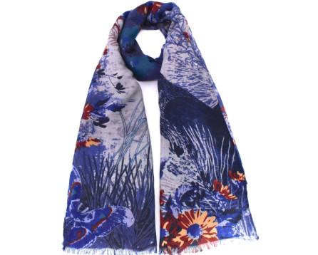 Moderní dámský šátek s potiskem - modrá/šedá