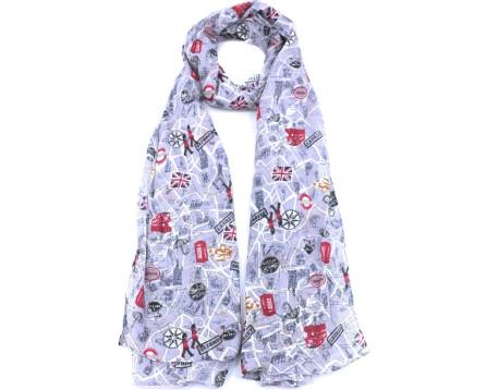 Moderní dámský šátek s potiskem - šedá