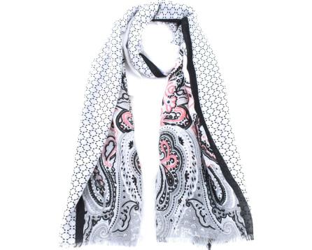 Moderní dámský šátek s potiskem - bílá