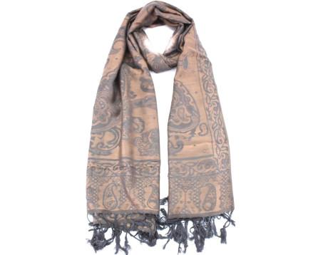 Dámský šátek s kašmírovým vzorem - béžová