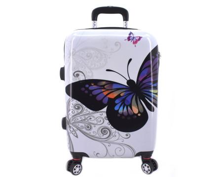 Cestovní kufr na čtyřech kolečkách Arteddy - motýl/bílá (L) 90l