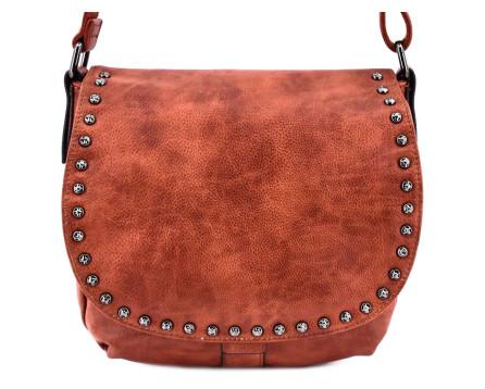 Dámská  crossbody kabelka s klopnou hnědá