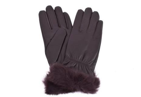 Dámské kožené rukavice Coveri Collection ozdobené kožešinou