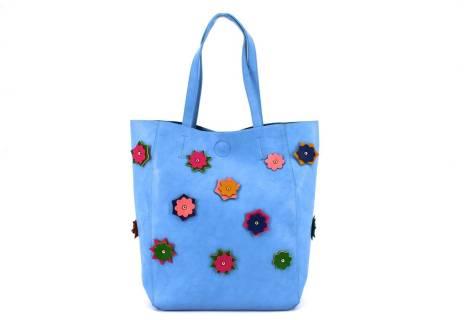 Dámská kabelka květovaná - modrá