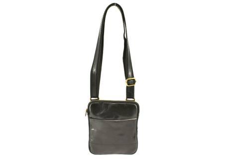 Kožená taška přes rameno s klopnou - černá