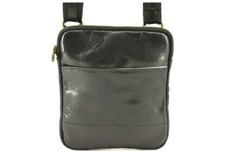 Kožená taška přes rameno crossbody - černá