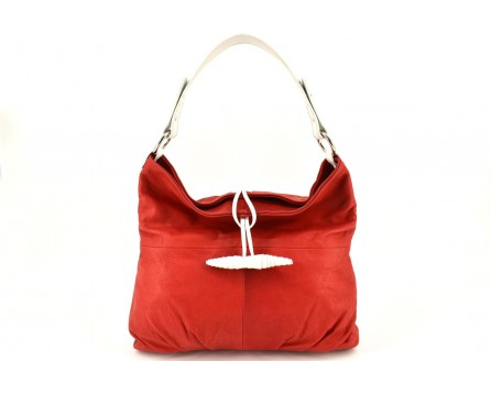Dámská kožená kabelka Arteddy - červená/bílá