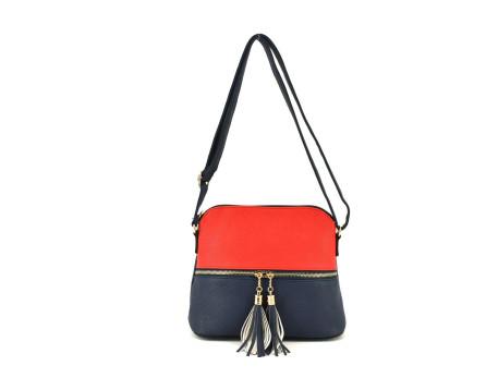 Dámská kabelka crossbody - tmavě modrá/červená